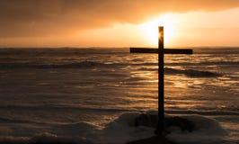 Cross of Storm Sea Stock Image