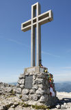 Cross on the summit of the mountain Klosterwappen Stock Images