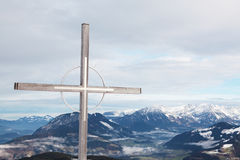Cross at summit, Niederau Stock Image