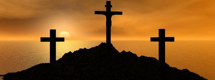 Cross and sun. Golgotha and sky orange and yellow Royalty Free Stock Photos