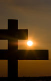 Cross and sun. Christian cross in beams of the sun stock image
