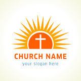 Cross on the sun church logo. Template logo for churches and Christian organizations cross on the sun Royalty Free Stock Image