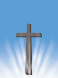 Cross with sun rays and light christian symbol of resurrection illustration with blue background Royalty Free Stock Photo