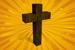 Cross with Sunburst. 3D cross with sunburst background Stock Photo