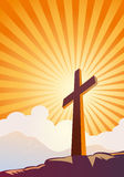 Cross and sunrays Royalty Free Stock Image