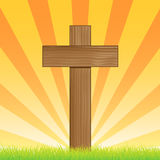Cross In Sunrise. An illustration of a wooden cross at sunrise / sunset. Clipping masks used for certain elements Stock Photos