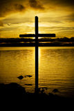 Cross in sunset Stock Image