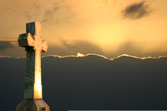 Cross Sunset. Stone Cross in dusk light royalty free stock photos