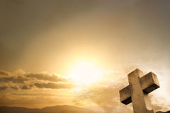 Cross Sunset Background Stock Images