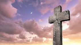 Cross. At sunset made in 3d software Royalty Free Stock Images