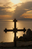 Cross at sunset on Mount Athos, Greece Royalty Free Stock Photos