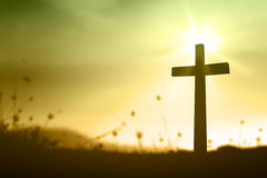 The cross on sunset Stock Images