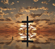 Cross. Sunset or sunrise with cross. This image created in entirety by me from my own images and is entirely legal for me to sell and distribute Stock Photography