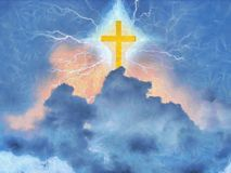 Cross. Surreal painting. Shining cross and lightnings in cloudy sky stock illustration