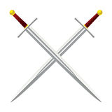 Cross Sword. Silver metal sword crossed with red handles Royalty Free Stock Photos
