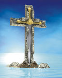 Cross sword stone Royalty Free Stock Photography