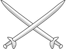 Cross swords. Isolated cross swords on white background Royalty Free Stock Photography