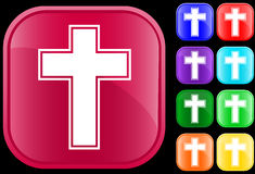 Cross symbol. Cross  symbol on shiny square buttons Royalty Free Stock Images