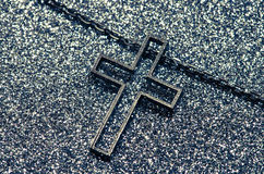 Cross symbol in black and white Royalty Free Stock Photos