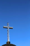 Cross symbol and deep blue sky Stock Image