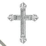 Cross symbol hand drawing vintage style.Engraving drawing of cro. Ss Stock Photography