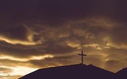 Cross symbol on roof of Church Stock Image