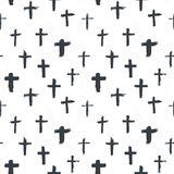 Cross symbols seamless pattern grunge hand drawn Christian crosses, religious signs icons, crucifix symbol vector illustration.  Royalty Free Stock Photos