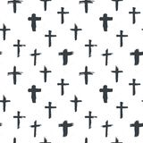 Cross symbols seamless pattern grunge hand drawn Christian crosses, religious signs icons, crucifix symbol vector illustration Royalty Free Stock Photos