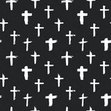 Cross symbols seamless pattern grunge hand drawn Christian crosses, religious signs icons, crucifix symbol vector illustration Royalty Free Stock Photography