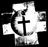 Cross Tag. A vintage black and white grunge texture with a cross and a tag vector illustration