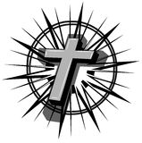 Cross tattoo. A grey and black cross on an asbtract sun. An idea for tattoo or logos Royalty Free Stock Photo