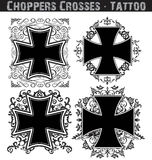 Cross tattoo. Set of four different crosses isolated on white background Royalty Free Stock Photography
