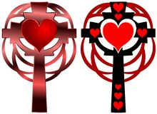 set of Cross tattoo with heart Royalty Free Stock Images
