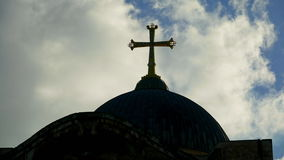 Cross on Temple of the Holy Sepulcher in Jerusalem stock video