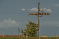 Cross in Terezin town in summer hot evening Stock Photos