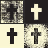 Cross and textures. Set of banners with a cross and a variety of textures stock illustration