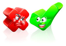 Cross and Tick Cartoon Characters. A cross or X no icon and green tick check mark icon yes icon with cartoon faces Stock Photography