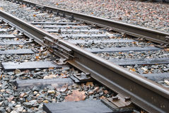 Cross ties and rails. Fragment of a railway way Stock Photography