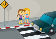 Cross together. Illustration of 2 girls crossing the street Stock Images