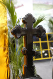 Cross tombstone Stock Photo