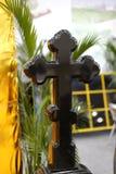Cross tombstone Stock Photo
