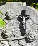 Cross on the tombstone Royalty Free Stock Photography
