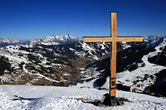 Cross At The Top. A cross at the top of the mountains in Saalbach, Austria Royalty Free Stock Photo