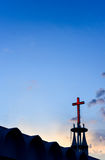 Cross at top of chruch with sunset sky Royalty Free Stock Images