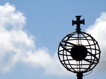 Cross on top of globe. Discoveries cross on top of globe remembering the Portuguese world conquests Royalty Free Stock Photos