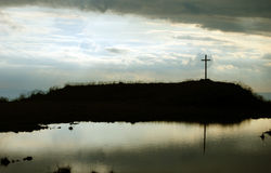 Cross on the top of the hill Royalty Free Stock Photography