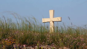 Cross. On top of the hill stock footage