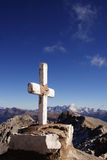 Cross at the top of the mountain. Stone cross at the mountain stock photography
