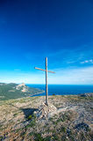 Cross on top of a mountain Stock Photo
