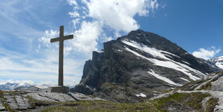 Cross on top of mountain gemmipass switzerland. This is a cross on top of gemmipass royalty free stock images